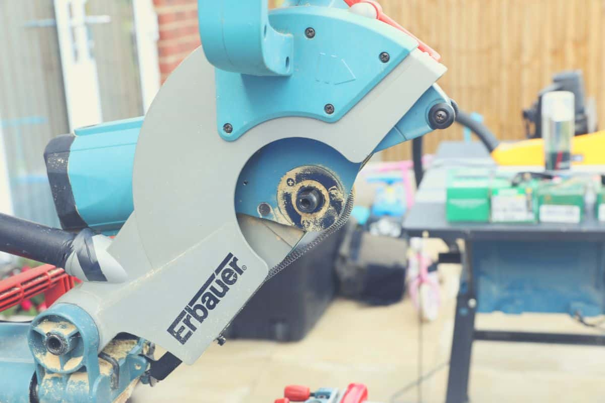 A 10 inch miter saw with the blade removed.