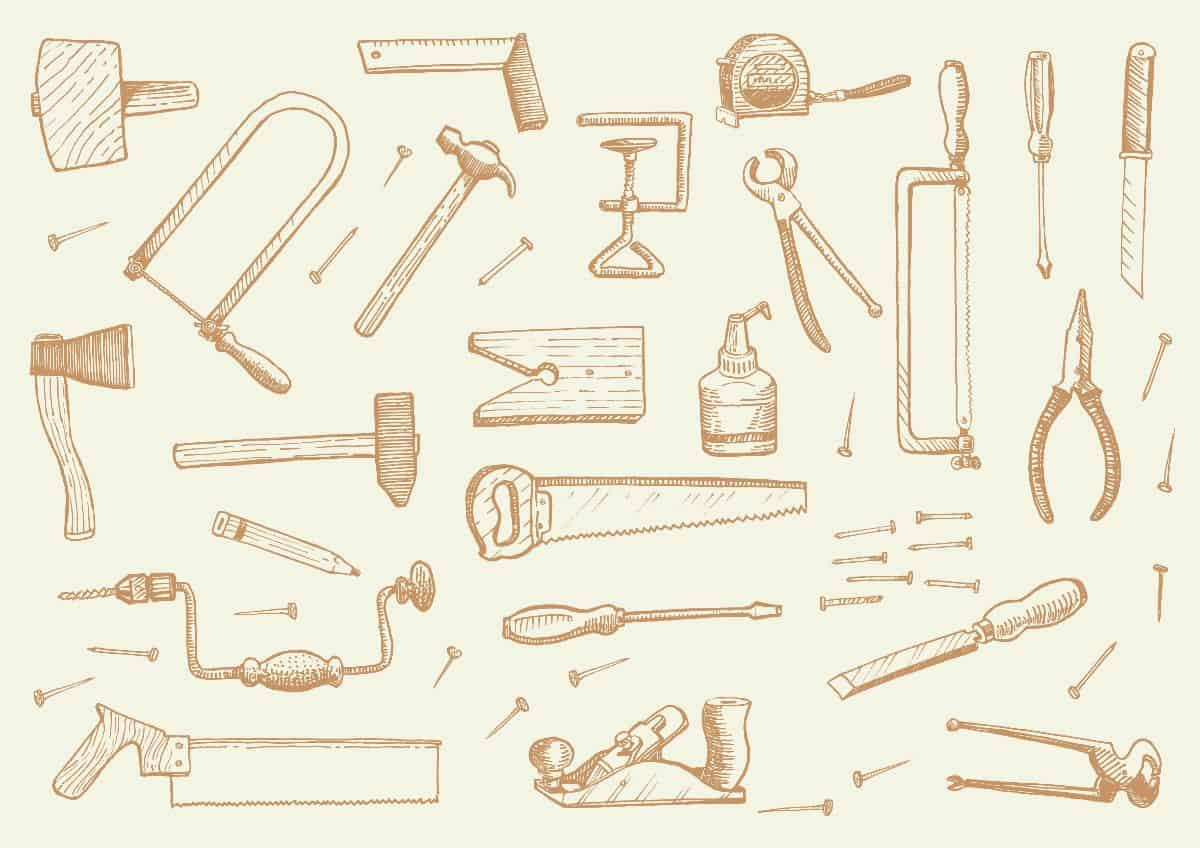An illustration of a load of woodworking tools