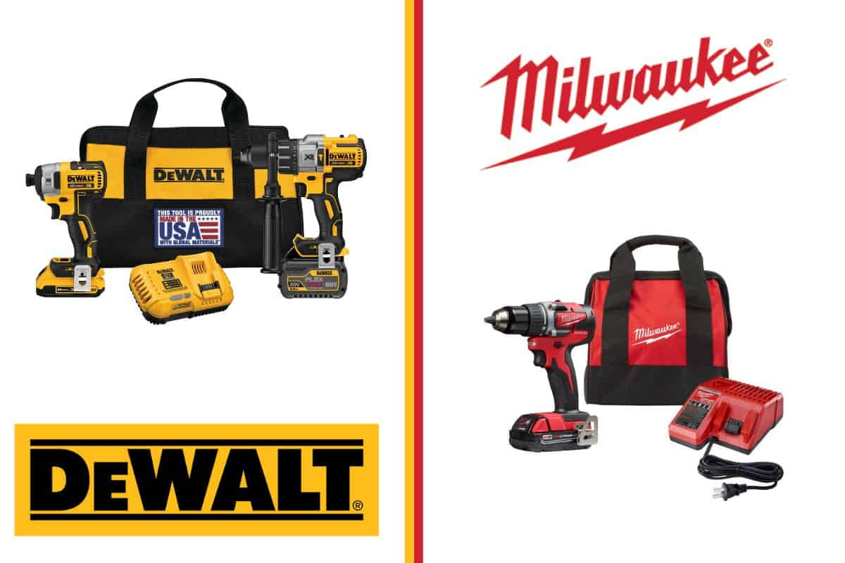 An image showing the dewalt and milwaukee logos and flagship products