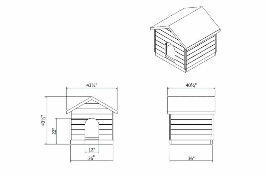 A dimensioned drawing of the completed dog house plan