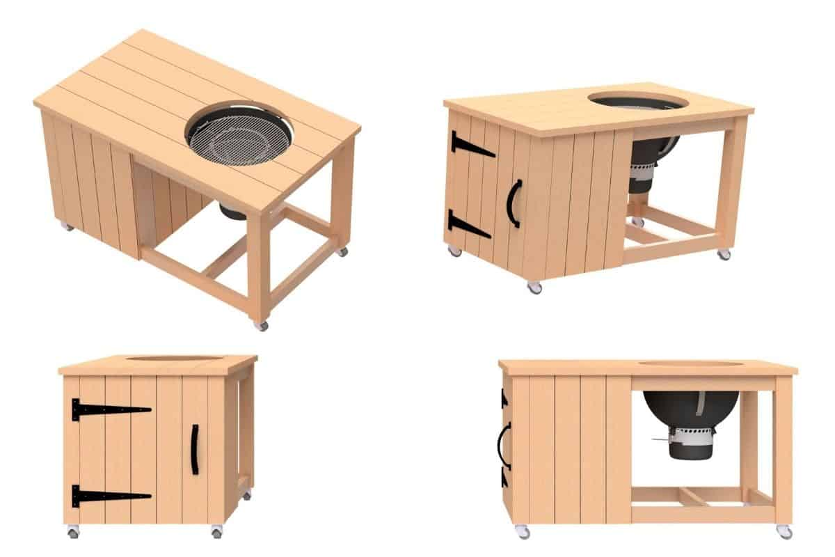 Multiple 3D views of the grill cart