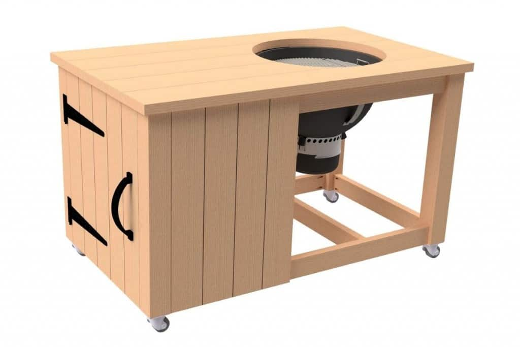 3D view of grill cart with grill and casters fitted