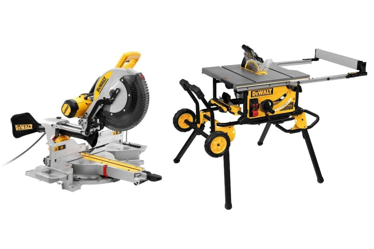 An image showing a DeWalt table saw and miter saw on a white background