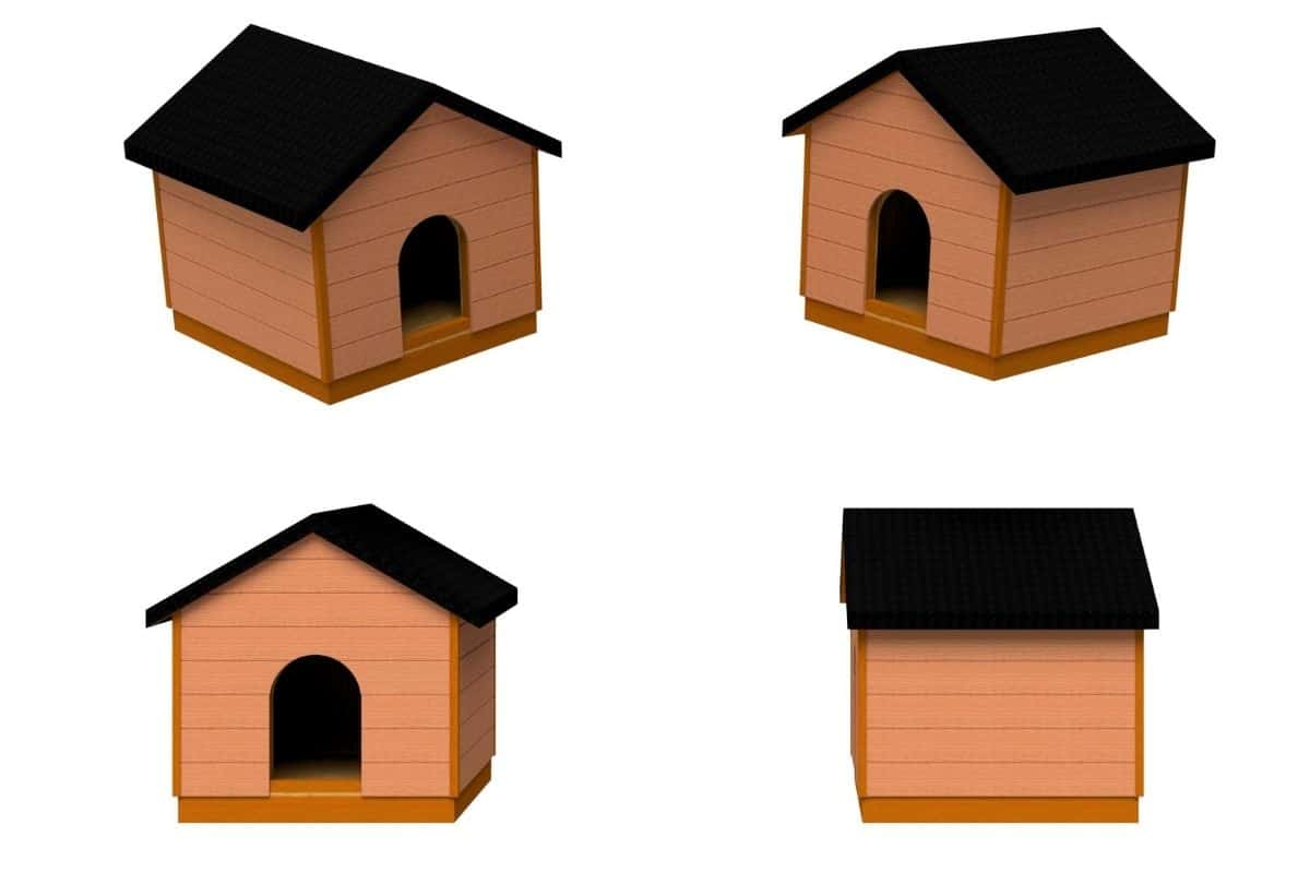 A collection of rendered isometric view of the completed dog house