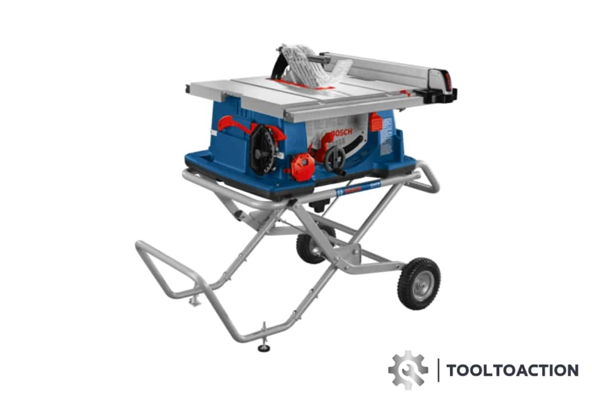 An image of the Bosch 4100-10 10 Inch Jobsite Table Saw and the tooltoaction logo