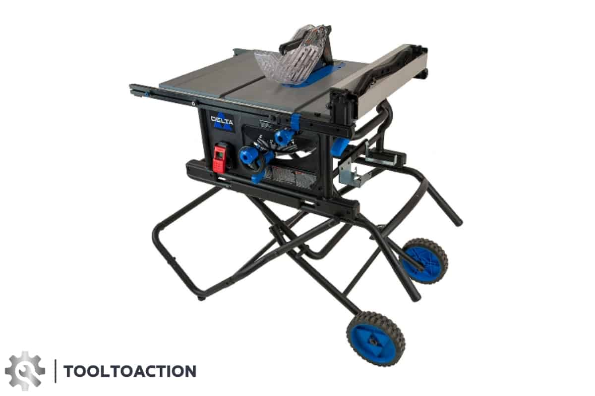 An image of the Delta 36-6023 10 inch table saw and the tooltoaction logo