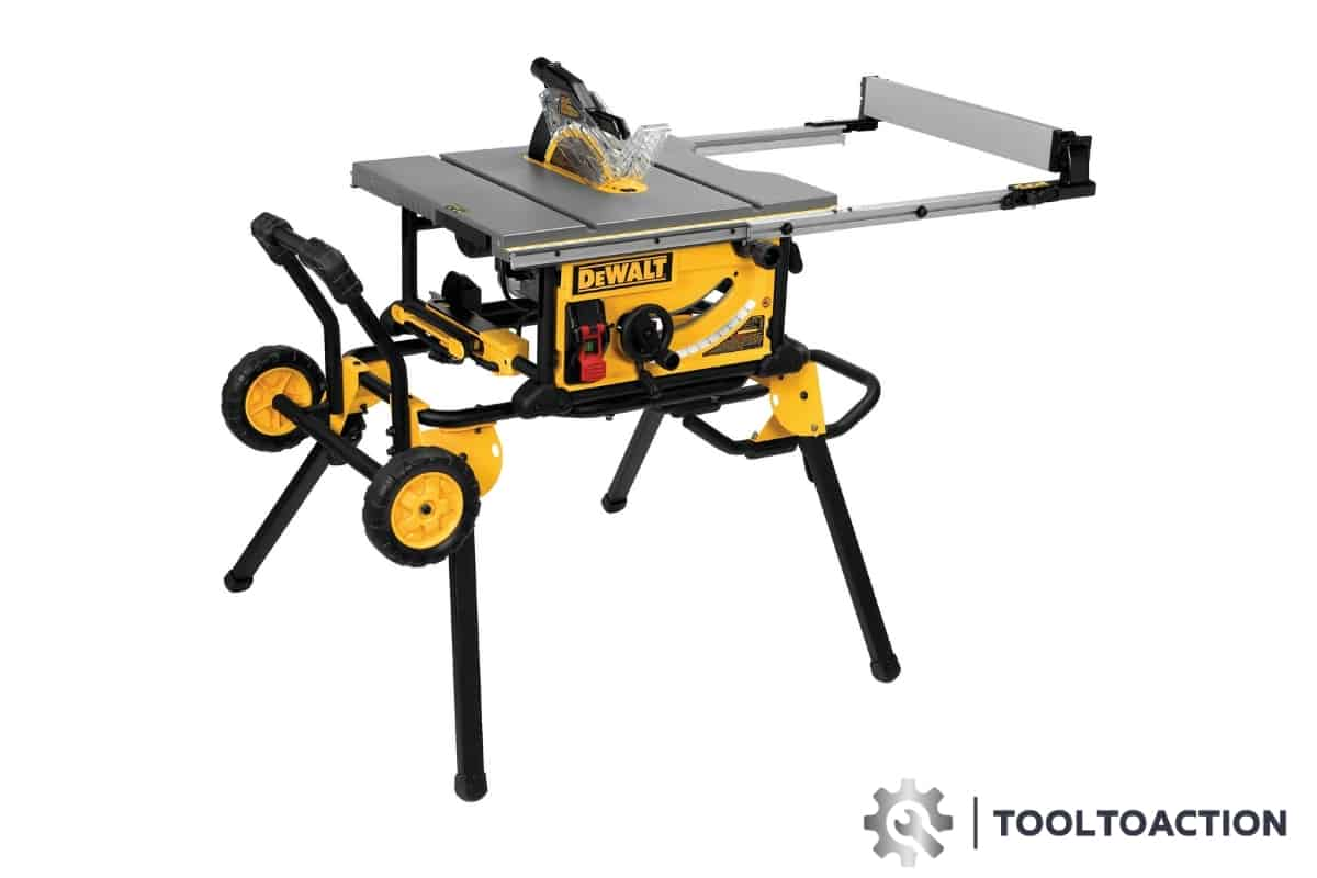 An image of the Dewalt DWE7491RS 10-Inch Table Saw and the tooltoaction logo