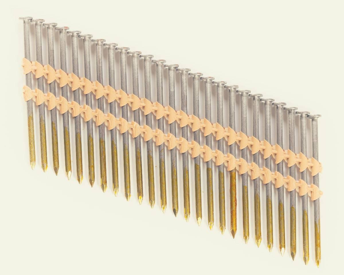 A strip of framing nails for a framing nail gun