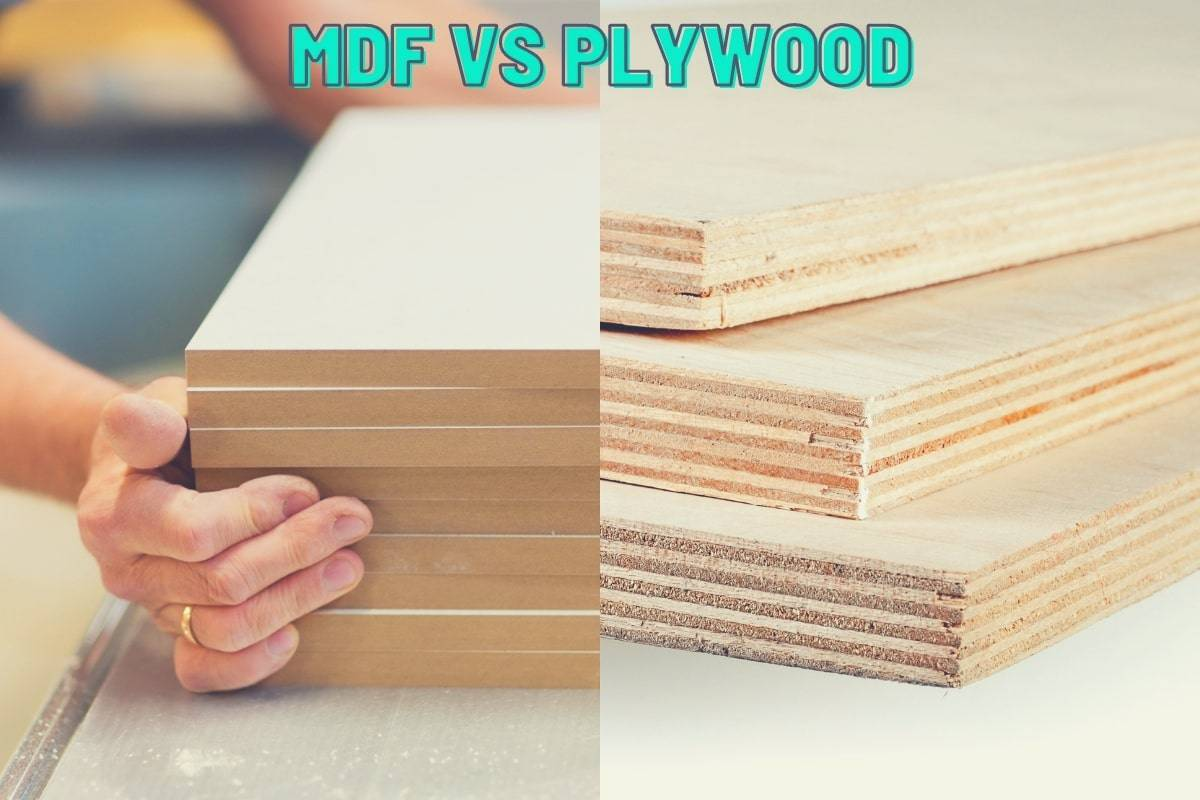 MDF vs Plywood - A split image showing a stack of MDF on the left and a stack of plywood on the right