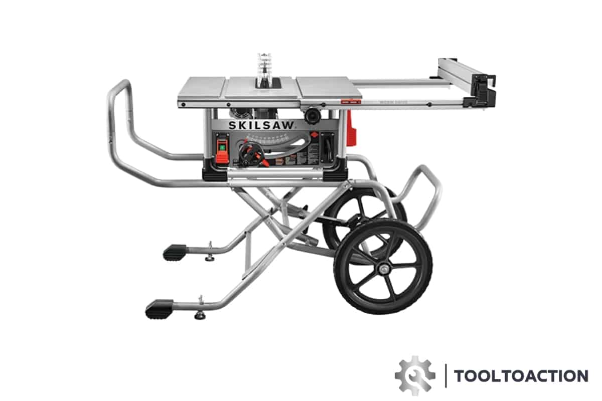 "An image of the Skilsaw SPT99-11 10"" Heavy Duty Worm Drive Table Saw and the tooltoaction logo"