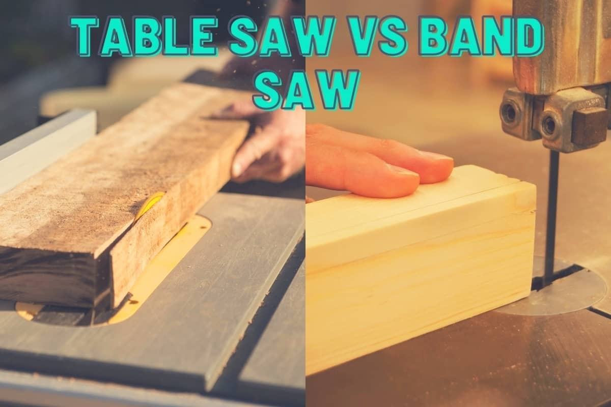 Table Saw Vs Band Saw - A split image showing someone cutting wood with a table saw on the left and a band saw on the right