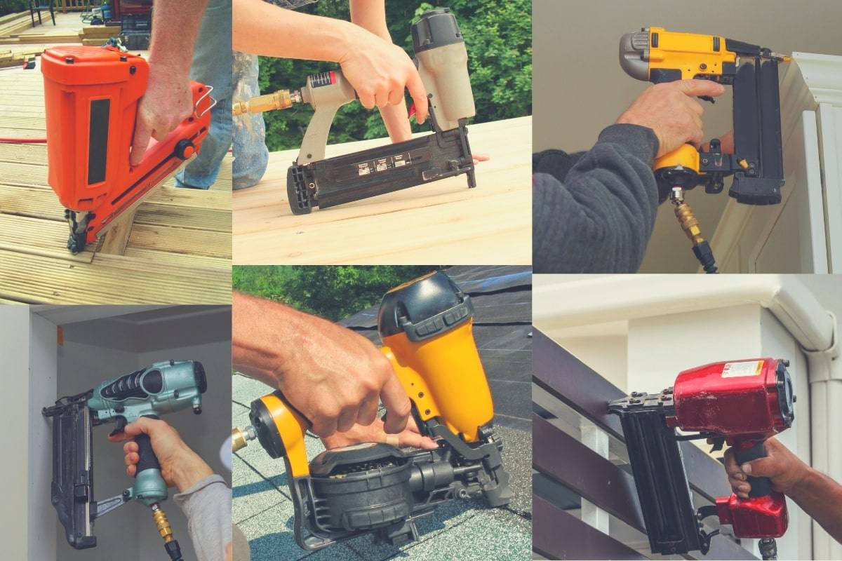 Multiple images showing all types of different nail guns being used.