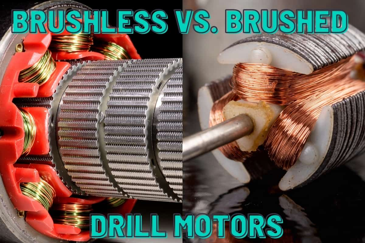 A split image showing a brushless motor on the left and a brushed motor on the right.
